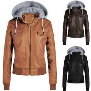 New Women  PU Leather Jacket Motorcycle Biker Zip Up Hooded Coat Outwear Tops