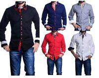 Mens Italian Shirts Casual Double Collar Slim Fit Shirt Button Down Collar DC08