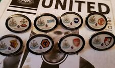 2019/20 COLLECTION OF 8 NEWCASTLE UNITED OFFICIAL MATCH BADGES .... FREE POSTAGE