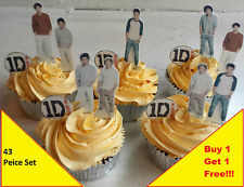 43 1D One Direction Birthday Cup Cake Toppers Premium Card Wafer Edible Stand up