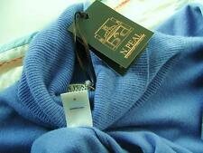 luxury N.PEAL 100% CASHMERE ROLL polo NECK JUMPER-top quality-mid blue-uk10 us6