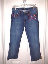 Alberto Makali Gemstone Capri Jeans with Lace-up Sides--size 8