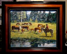 CHECKING THE HERD original oil painting by Richard R. Nervig