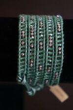 NEW Chan Luu Green Swarovski Crystal & Gunmetal Mix 5 Wrap Leather Bracelet