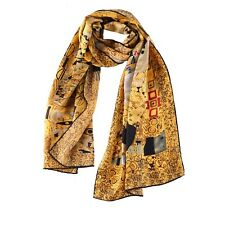 Long Charmeuse Satin Silk Scarf with Classic Painting Print LZD109