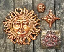 Lot of 4 Celestial Sun, Moon, Star Home Garden Wall Plaque Decor