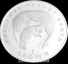 1994 Isle Of Man 1 Crown Coin Preserve WWF Endangered Wildlife Seals Rare UNC