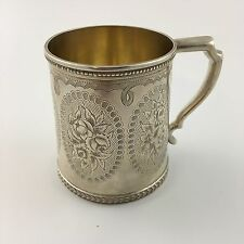 Antique 1856 Tiffany & Co Sterling Silver 9oz Coffee Mug Cup Bright Cut Flowers