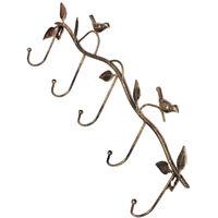 Iron Birds Leaves Hat/Towel/Coat Wall Decor Clothes Hangers Racks With 5 Ho U4Z4