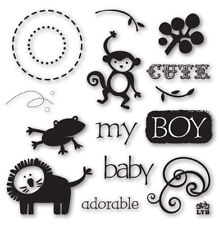 Little Yellow Bicycle Baby Safari Boy Clear Stamps, craft, scrapbook, Cards, Tag