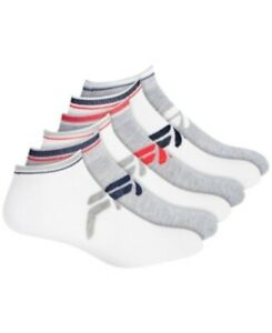Fila Unisex 247752 Logo Quarter Socks 6-pack Gray/white Size 4--10