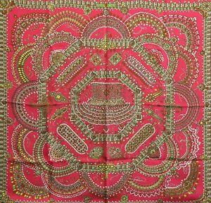 Hermès Carré Parures Des Maharajas Rose Seidentuch Schal Accessoires H712