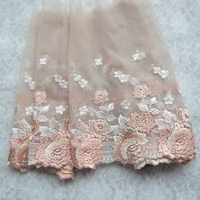 "2 Yards Lace Trim Beige Tulle Floral Embroidery Wedding Trim 7.87"" width"