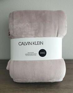 """Calvin Klein Light Pink Plush Fleece Oversized King Blanket 112""""x92"""""""