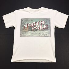 VTG THE NORTH POLE PACKAGE COMPANY FUNNY CHRISTMAS WHITE SINGLE STITCH T SHIRT L