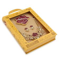 Disney Store Deluxe Princess Belle Jewelry Costume Set Necklace Earrings Mirror