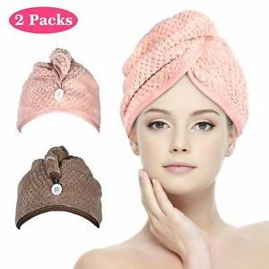 2Pcs Rapid Fast Drying Hair Towel Soft Thick Absorbent Shower Hat Hair Direr Cap