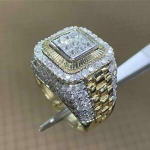 100% Brand New High ! Newest Design 14K Yellow Gold Over Men's Diamond Ring