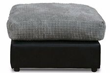 New Bajna Jumbo Cord Black & Grey Fabric Footstool Pouffe Ottoman Stool Soft