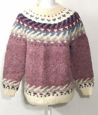 Vintage LL Bean Hilda Ltd Women Medium Wool Icelandic Fuzzy Chunky Knit Sweater