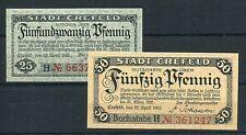 Crefeld 25 + 50 Pfennig Verkehrsausgabe Serie kompl. ( II )