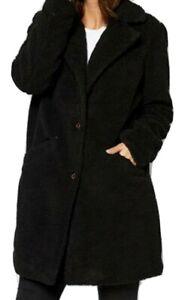 New Womens Teddy Longline Coat Jacket Black Size UK 8