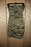 Nicole Miller Collection Green Brown Metallic Crinkle Ruched Dress 6