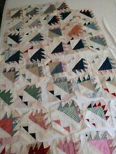 Vintage Fabric Quilt Block Squares Huge Lot of 39 Hand Stitched Flower Basket