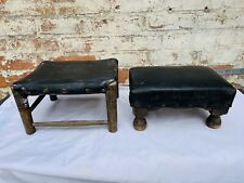 2 X Vintage Footstool Wooden Leather Style Cover