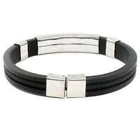 EG_ Men's Women's New Stainless Steel Rubber Wristband Bangle Clasp Cuff Bracele