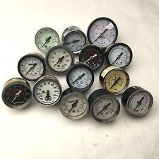 """Lot of 14 Miscellaneous Pressure Gauges, 1/8"""" NPT, Range: 0-160 PSI"""