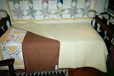 "Solid Yellow/Solid Brown Reversible Quilt: 70"" x 80"", Pa. Cottons, c1920, Unused"