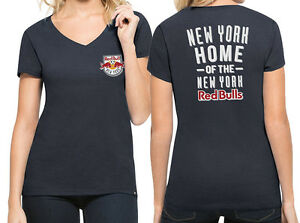 MLS New York Red Bull Women's '47 Clutch MVP V-Neck Tee Fall Navy Size M-XL