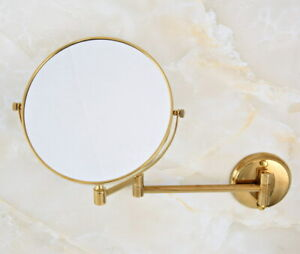 """Gold Color Brass 8"""" Wall Mounted Swing Arm 2-Sided Magnifying Mirror fba632"""