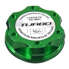 V2 Green Billet Engine Oil Filler Cap Silver Turbo Emblem For Honda & Acura