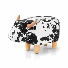 Artiss Kids Ottoman Animal Stool Toy Cow Chair Foot Rest Leather Seat White
