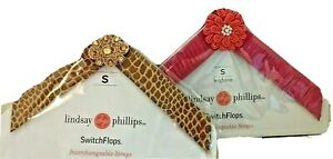 Lot of 2 Lindsay Phillips Switchflops Straps Liv Gold and Leighton Small 5- 6