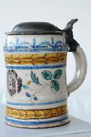 Selten schöner Walzenkrug, Zinndeckel, Gmunden, nach 1800
