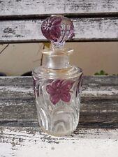Ancien flacon en cristal de St Louis décor or et fleurs violettes