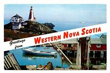 Western Nova Scotia Postcard Yarmouth Light House Boat Dock Fishing Scene Vtg
