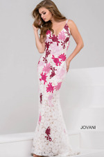 fd16a5254114f $700 NWT 6 JOVANI LACE BEADED RED FLORAL LONG FORMAL PROM WEDDING DRESS GOWN