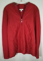 Croft & Barrow Women's Size PXL Zip Up Quilted Sweater Jacket Mock Neck Red