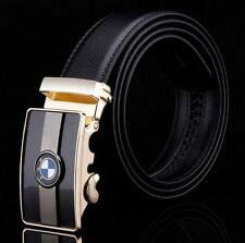 New Mens Desinger Leather Belt Waistband With BMW Automatic Buckle Black