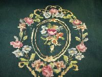Vtg NEEDLEPOINT Large  Petit Point FLOWERS Floral Green background Preworked