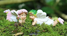 Set of Two Flower Fairy Garden Ornaments Outdoor Fairies pixie Gift