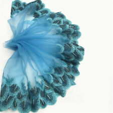 Peacock Feather Embroidery Lace Trims Edge Tulle Fabric Vintage Scalloped Sewing Sky Blue
