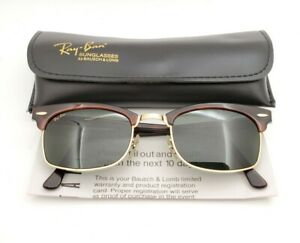 Vintage B&L Ray Ban Bausch & Lomb Gray Tortoise Square Clubmaster W1482 w/Case