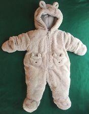 Okie Dokie Baby UniSex Bear Bunting / Snowsuit Thick Fleece - Size 3-6 Months