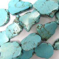 "15-23mm blue turquoise freeform slab nugget beads 15.5"" strand"