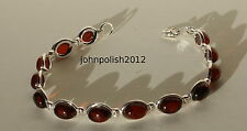 Cherry Colour Baltic Amber Bracelet with Silver 925